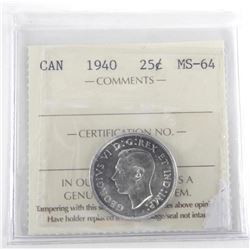 Canada 1940 25 Cent. MS-64. ICCS. (SXR)