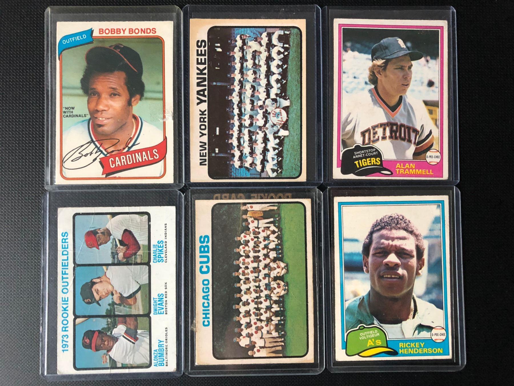 1970 80s Baseball Card Lot Bobby Bonds Rickey Henderson