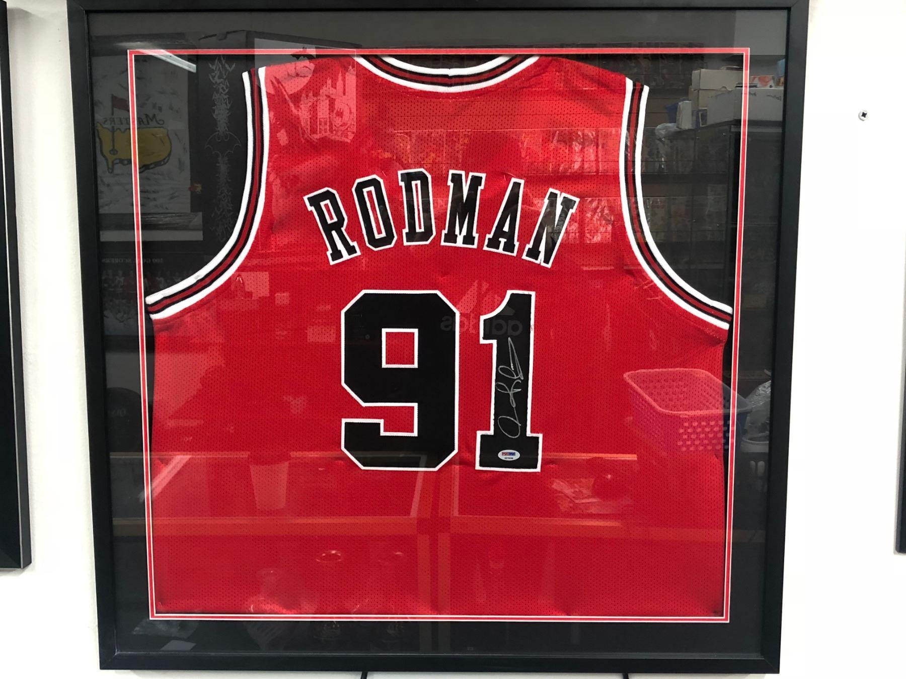 designer fashion b2ac3 53536 Dennis Rodman Signed Bulls 35x43 Custom Framed Jersey (JSA COA)
