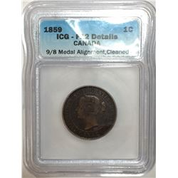 Canada 1859 Large Cent 9/8 Medal ICG F12 Cleaned