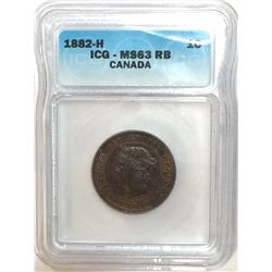 Canada 1882H Large Cent Obv. 1 ICG MS63 R&B