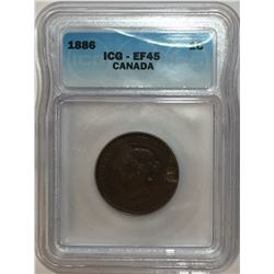 Canada 1886 Large Cent Obv. 1 ICG EF45