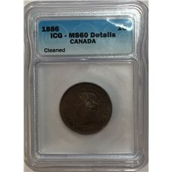 Canada 1886 Large Cent Obv. 1 ICG MS60 Cleaned