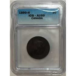 Canada 1890H Large Cent ICG AU50