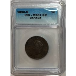 Canada 1890H Large Cent ICG MS61 Brown