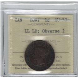 Canada 1891 Large Cent LL LD Obv. 2 ICCS AU50