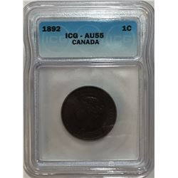 Canada 1892 Large Cent Obv. 4 ICG AU55
