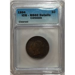 Canada 1894 Large Cent Thin 4 ICG MS60 Cleaned