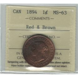 Canada 1894 Large Cent MS63 Red & Brown