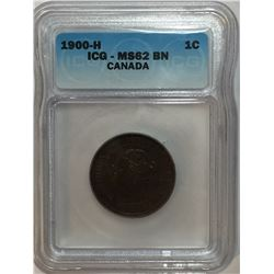 Canada 1900H Large Cent ICG MS62
