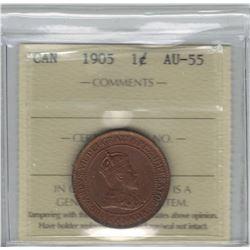 Canada 1905 Large Cent ICCS AU55