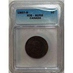 Canada 1907H Large Cent ICG AU58