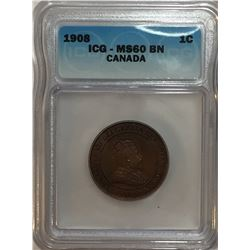 Canada 1908 Large Cent ICG MS60