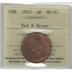 Canada 1913 Large Cent ICCS MS63 Red & Brown