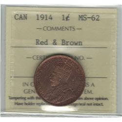 Canada 1914 Large Cent ICCS MS62 Red & Brown