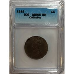 Canada 1916 Large Cent ICG MS65 Brown