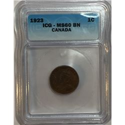 Canada 1923 Small Cent ICG MS60
