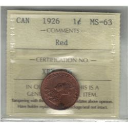 Canada 1926 Small Cent ICCS MS63