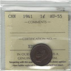 Canada 1941 Small Cent ICCS AU55