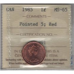 Canada 1985 Small Cent Pointed 5 ICCS MS65 Red
