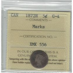 Canada 1872H Silver 5 Cent ICCS G4 Marks