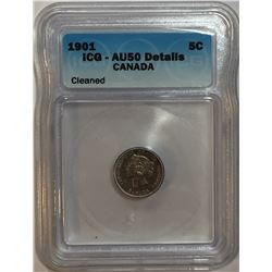 Canada 1901 Silver 5 Cent ICG AU50 Cleaned