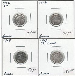 Canada 1902 SH, 1908, 1909 RL, 1909 RL Silver 5 Cent Lot
