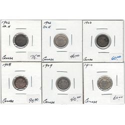 Canada 1902 Sm H, 1902 Lg H, 1903, 1908, 1909, 1910 Silver 5 Cent Lot
