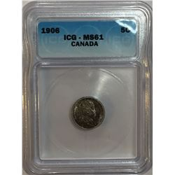 Canada 1906 Silver 5 Cent ICG MS61