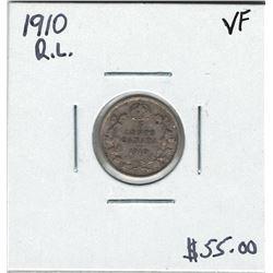 Canada 1910 Round Leaf Silver 5 Cent VF30