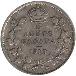 Canada 1910 Silver 5 Cent Round Leaf VF
