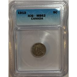 Canada 1913 Silver 5 Cent ICG MS62