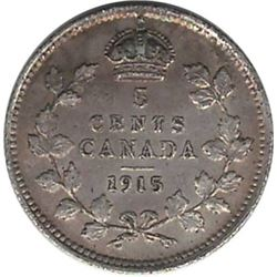 Canada 1915 Silver 5 Cent AU