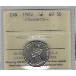 Canada 1922 Nickel 5 Cent ICCS AU50