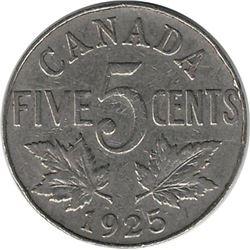Canada 1925 Nickel 5 Cent VG