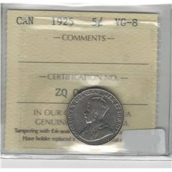 Canada 1925 Nickel 5 Cent ICCS VG8