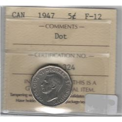 Canada 1947 Dot Nickel 5 Cent ICCS F12