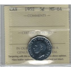 Canada 1952 Nickel 5 Cent ICCS MS64