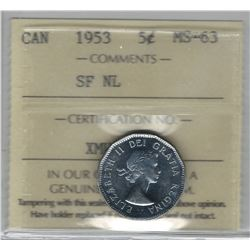 Canada 1953 SF NL Nickel 5 Cent ICCS MS63