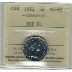 Canada 1953 NSF FL Nickel 5 Cent ICCS MS65