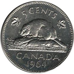 Canada 1964 XWL Nickel 5 Cent BU