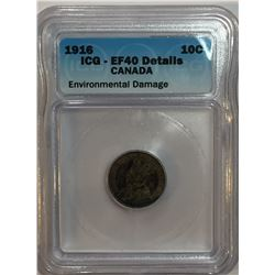 Canada 1916 Silver 10 Cent ICG EF40 Env. Damage