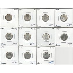 Canada Lot of 11 George VI Silver 10 Cent Coins