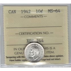 Canada 1942 Silver 10 Cent ICCS MS64