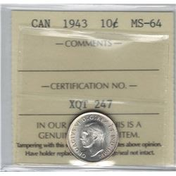 Canada 1943 Silver 10 Cent ICCS MS64