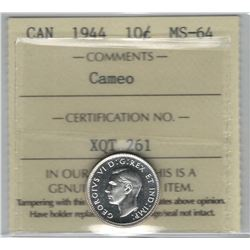 Canada 1944 Silver 10 Cent ICCS MS64