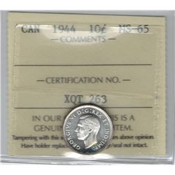 Canada 1944 Silver 10 Cent ICCS MS65