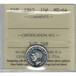 Canada 1945 Silver 10 Cent ICCS MS64