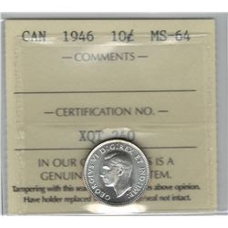 Canada 1946 Silver 10 Cent ICCS MS64