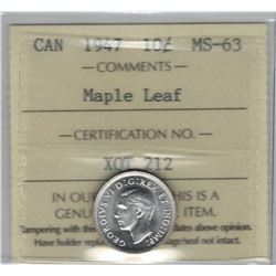 Canada 1947 Silver 10 Cent Maple Leaf ICCS MS63